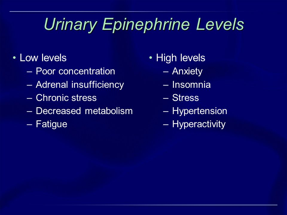 Urinary Epinephrine Levels