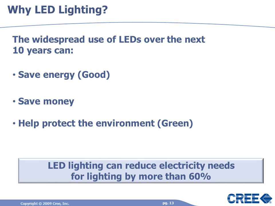 Why LED Lighting The widespread use of LEDs over the next 10 years can: Save energy (Good) Save money.