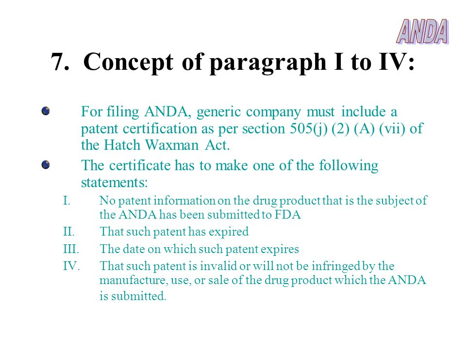 7. Concept of paragraph I to IV: