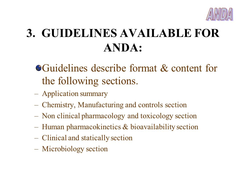 3. GUIDELINES AVAILABLE FOR ANDA:
