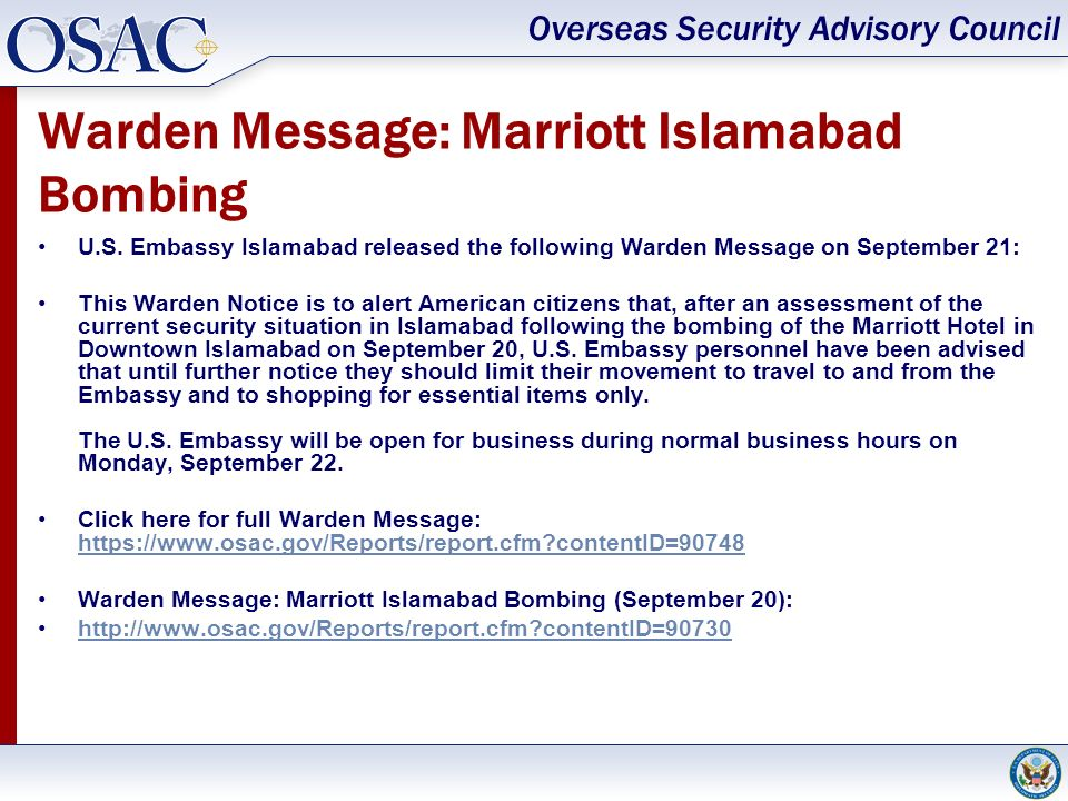 Warden Message: Marriott Islamabad Bombing