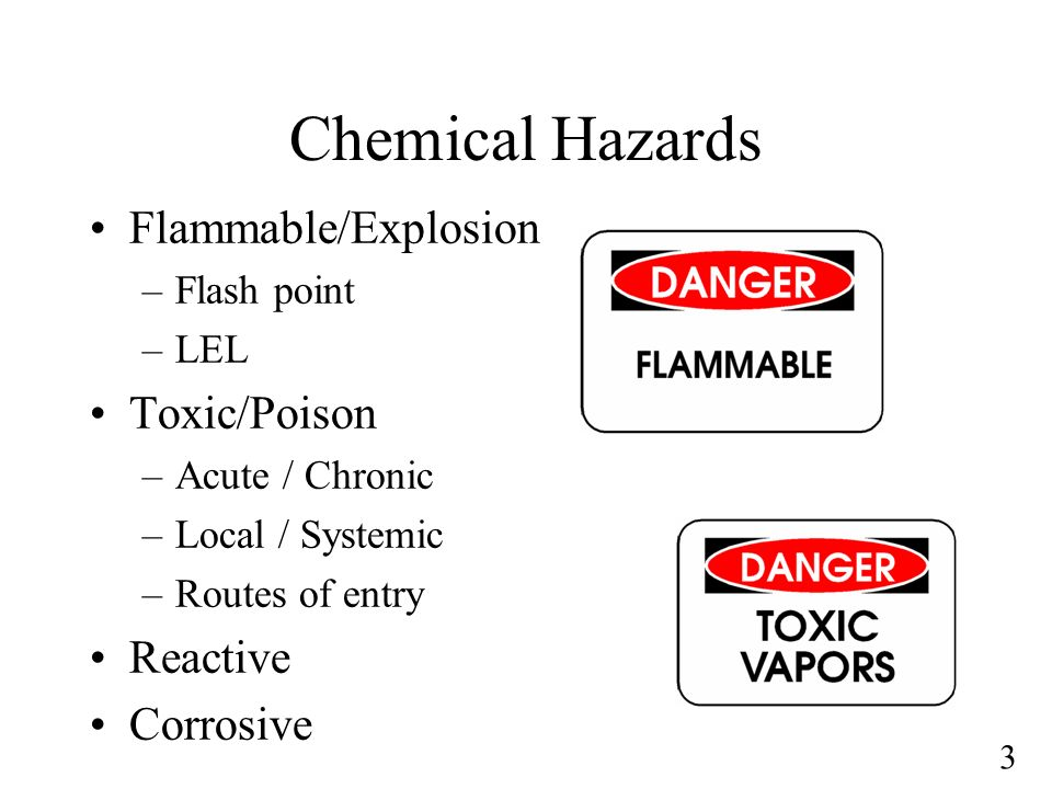 Chemical Hazards Flammable/Explosion Toxic/Poison Reactive Corrosive