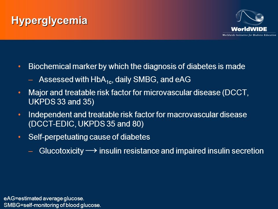 Hyperglycemia Biochemical marker by which the diagnosis of diabetes is made. Assessed with HbA1c, daily SMBG, and eAG.