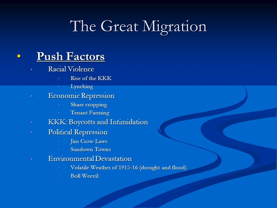 The Great Migration Push Factors Racial Violence Economic Repression