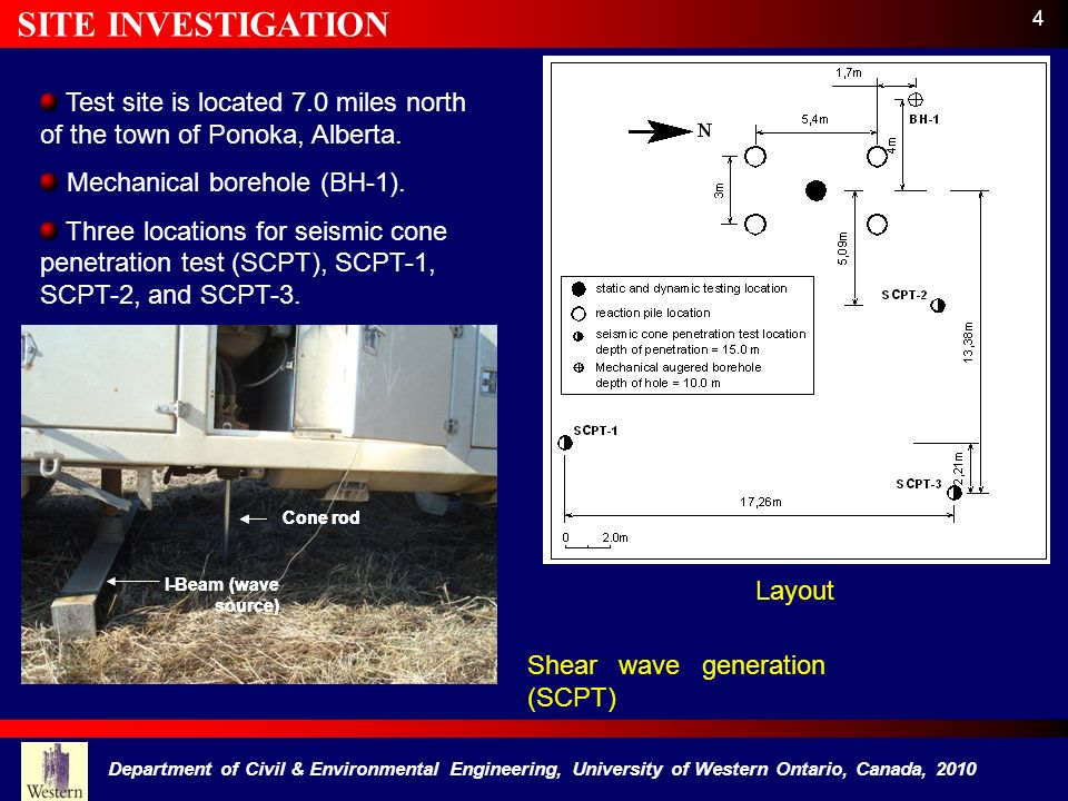 SITE INVESTIGATION 4. Test site is located 7.0 miles north of the town of Ponoka, Alberta. Mechanical borehole (BH-1).