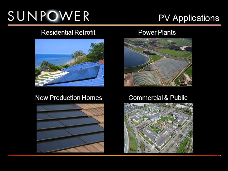 PV Applications Residential Retrofit Power Plants New Production Homes