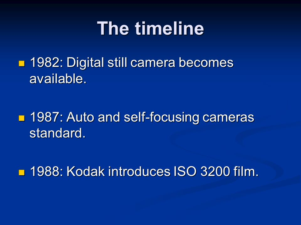 The timeline 1982: Digital still camera becomes available.