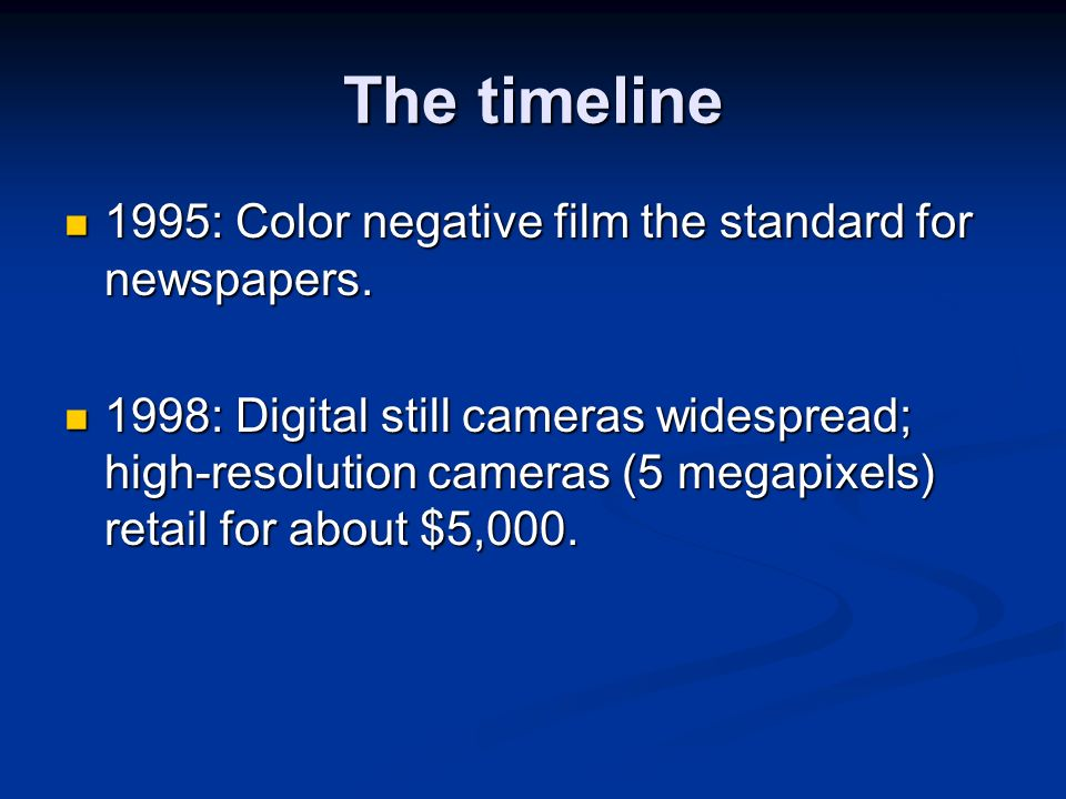The timeline 1995: Color negative film the standard for newspapers.