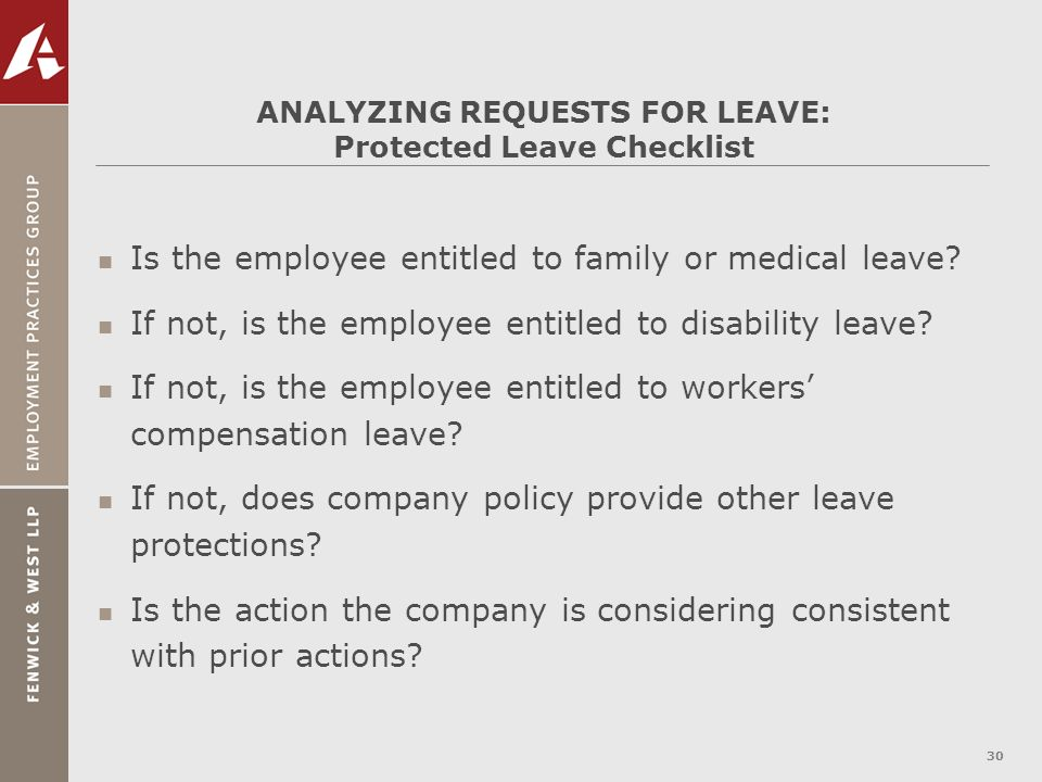 ANALYZING REQUESTS FOR LEAVE: Protected Leave Checklist