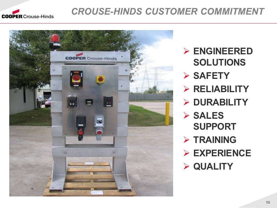 CROUSE-HINDS CUSTOMER COMMITMENT