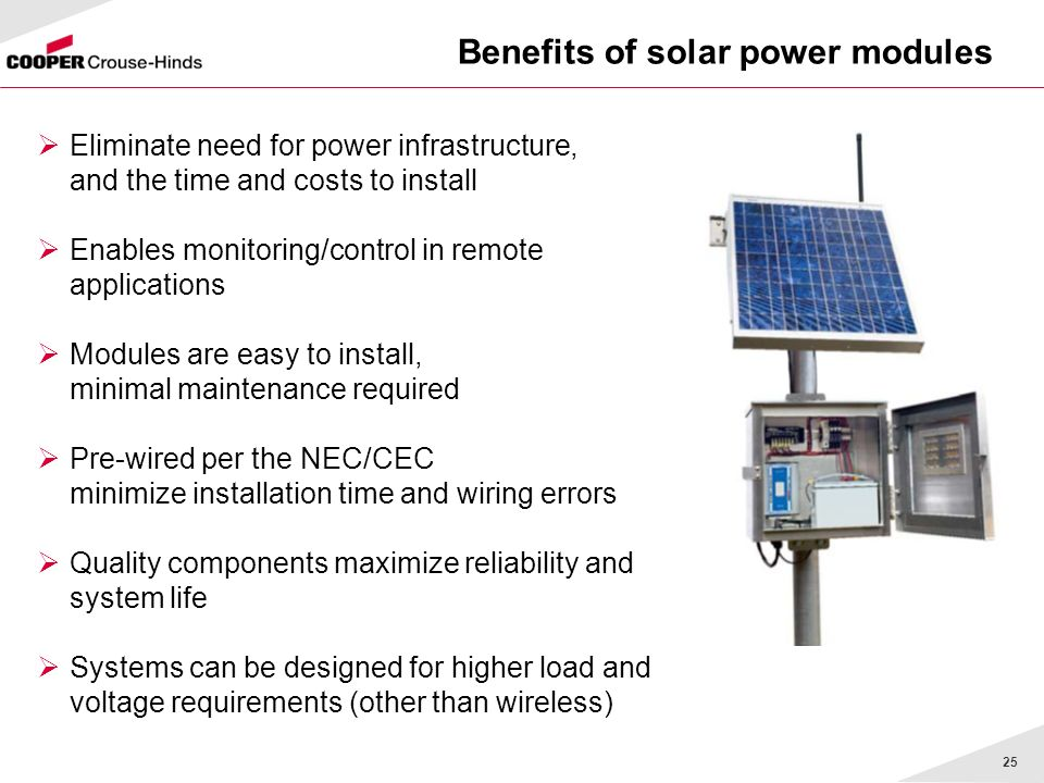 Benefits of solar power modules