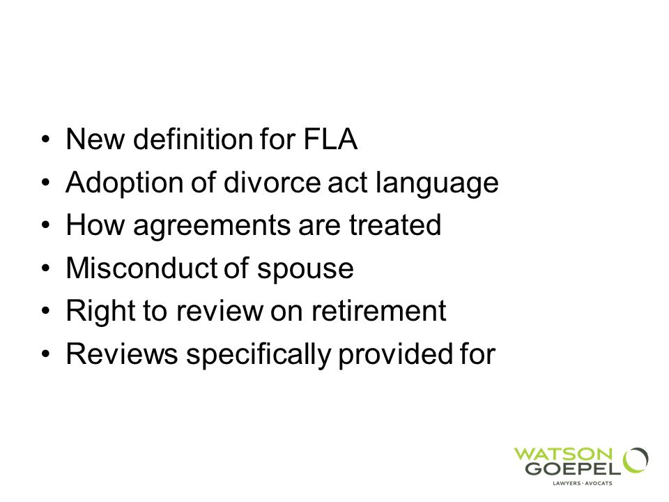 New definition for FLA Adoption of divorce act language. How agreements are treated. Misconduct of spouse.