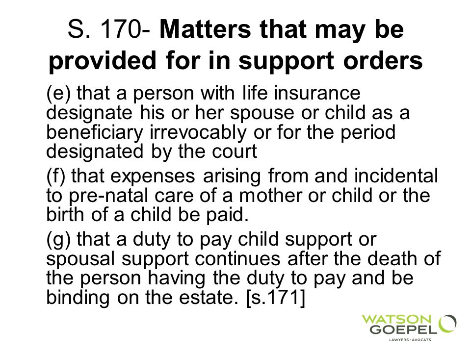 S Matters that may be provided for in support orders