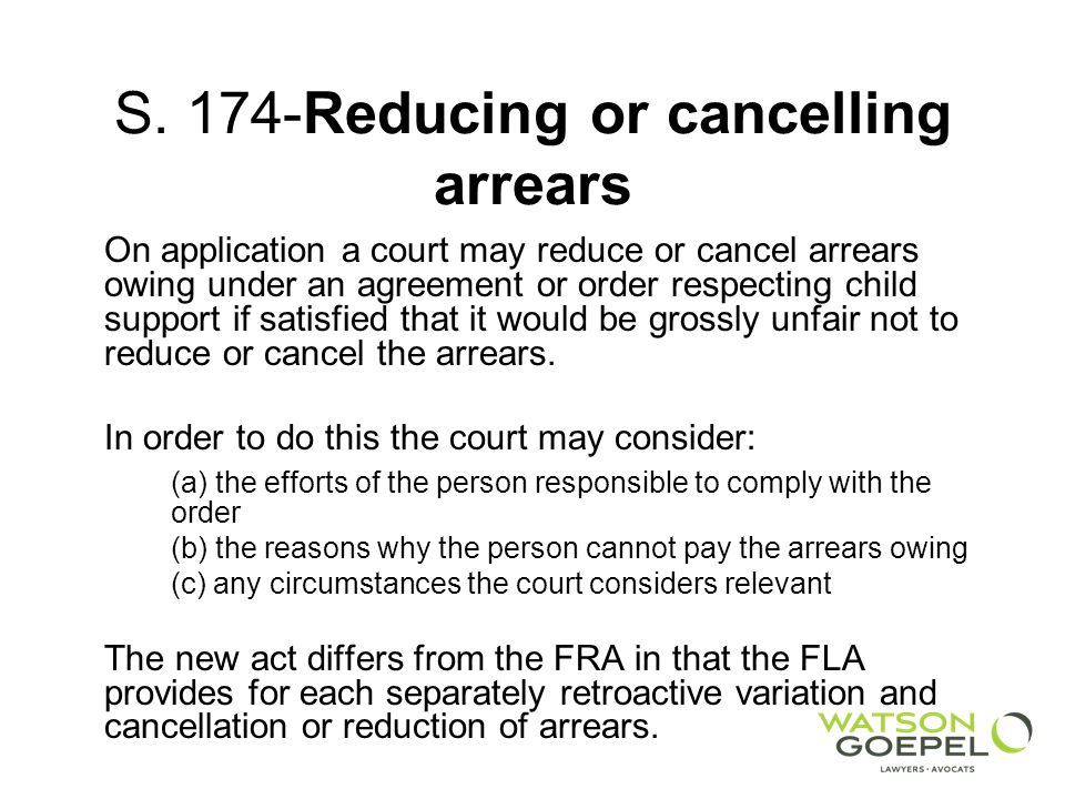S. 174-Reducing or cancelling arrears