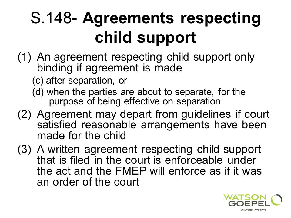 S.148- Agreements respecting child support