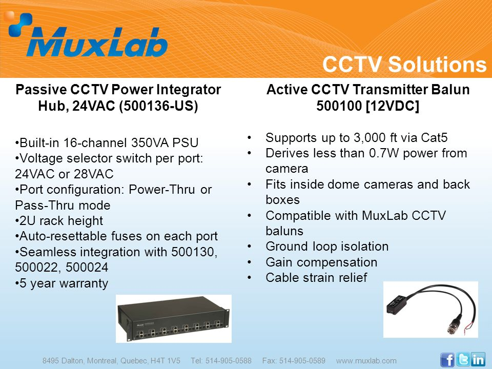 CCTV Solutions Passive CCTV Power Integrator Hub, 24VAC (500136-US)