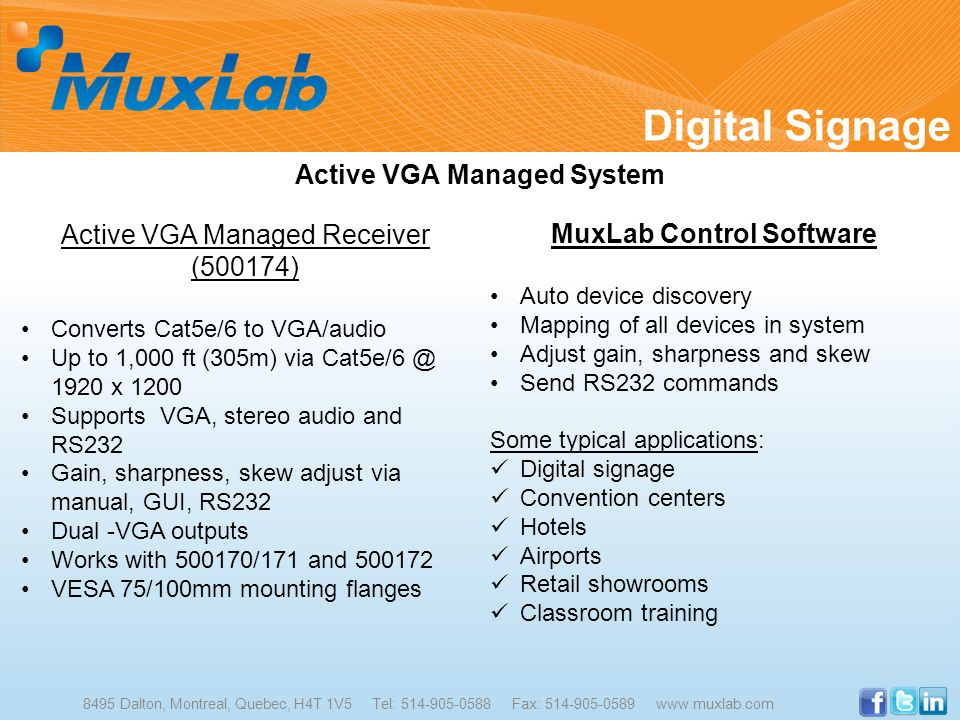 Active VGA Managed System MuxLab Control Software