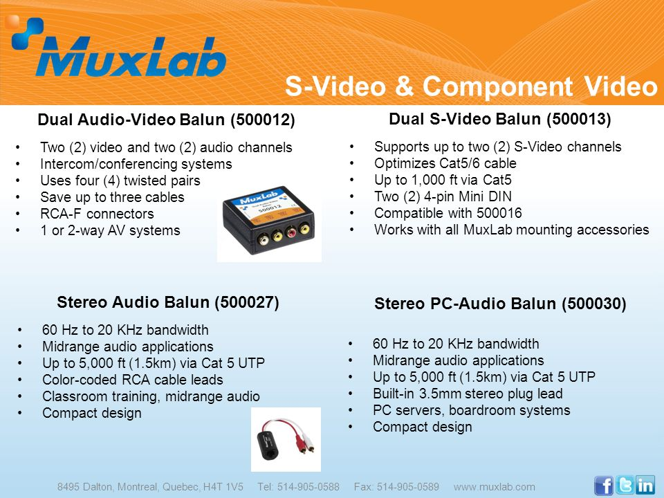 Dual Audio-Video Balun (500012) Stereo PC-Audio Balun (500030)