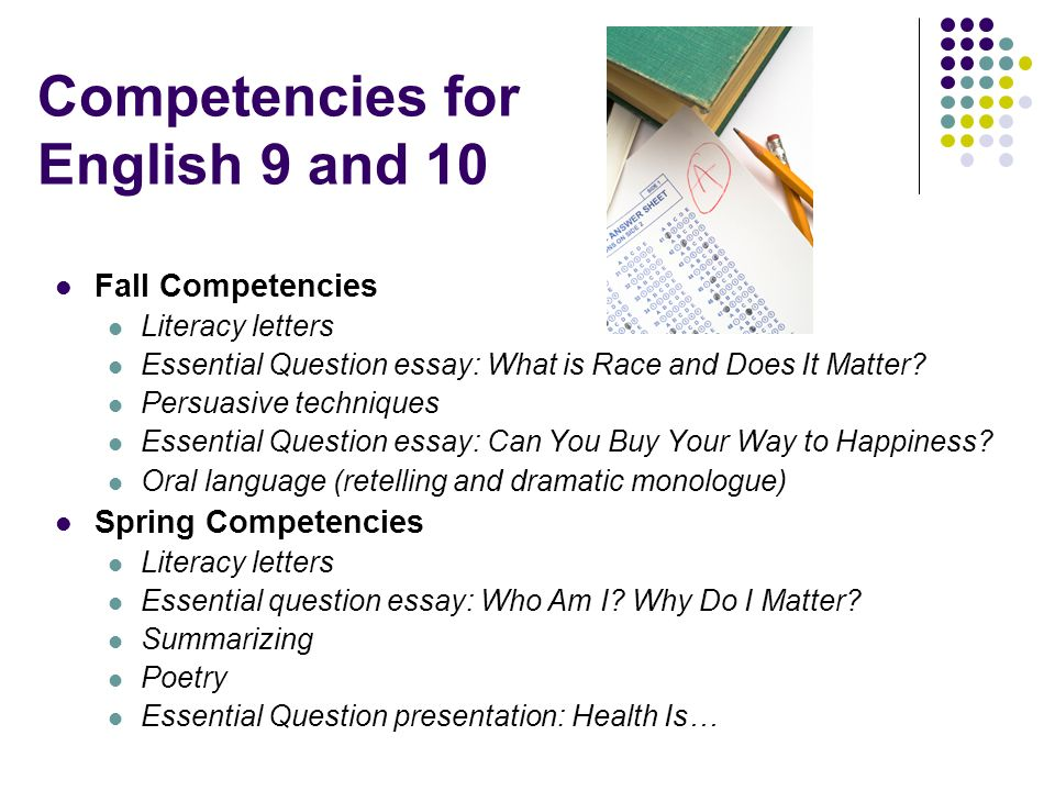 Competencies for English 9 and 10