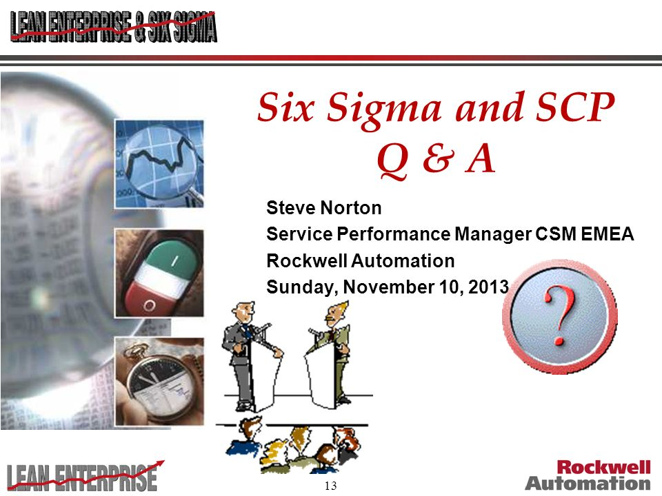 Six Sigma and SCP Q & A Steve Norton