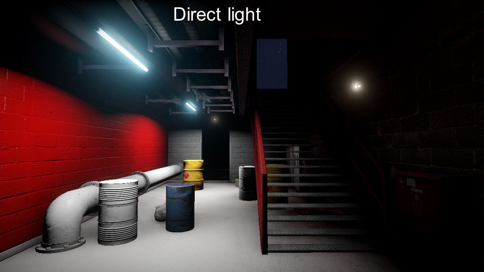 Direct light First we render the direct light sources deferred.