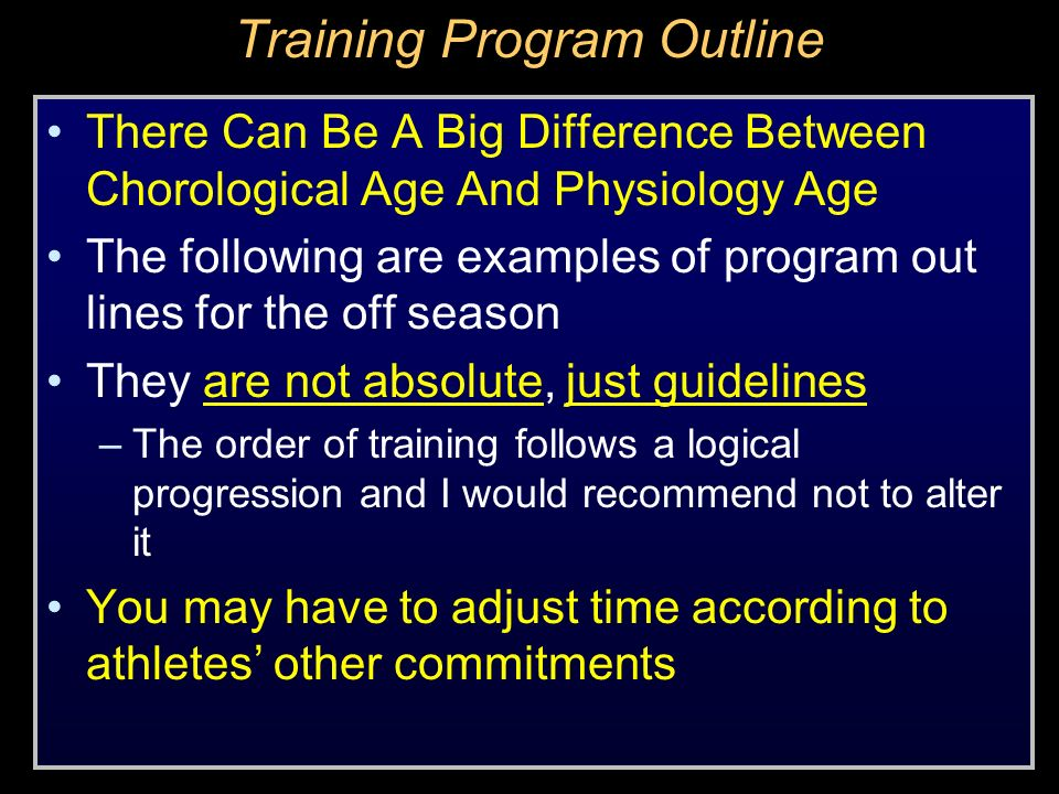 Training Program Outline