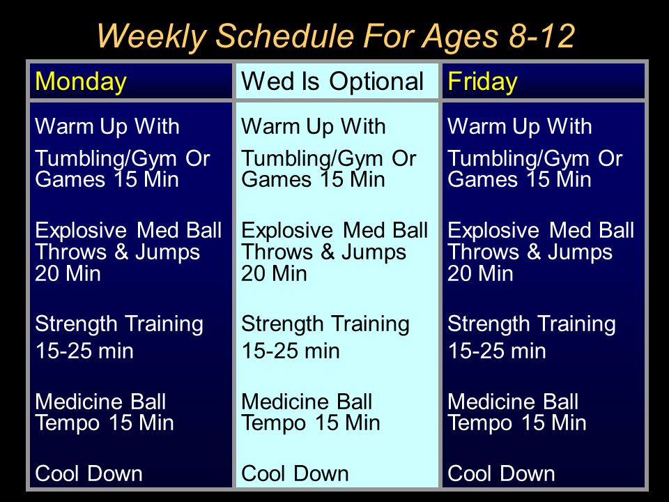 Weekly Schedule For Ages 8-12