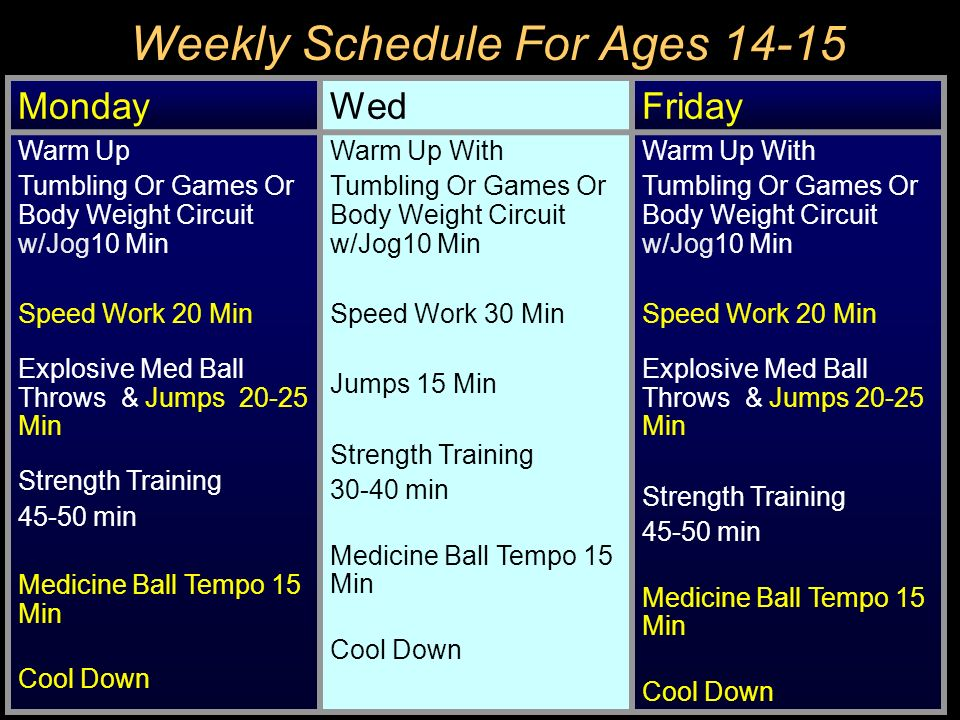 Weekly Schedule For Ages 14-15