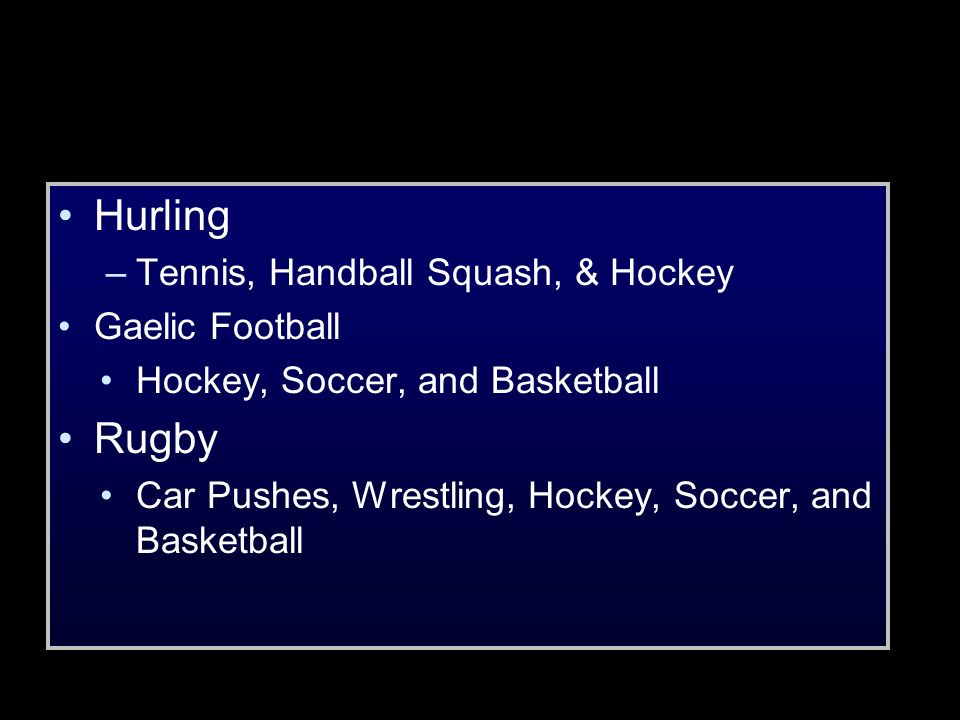 Hurling Rugby Tennis, Handball Squash, & Hockey Gaelic Football