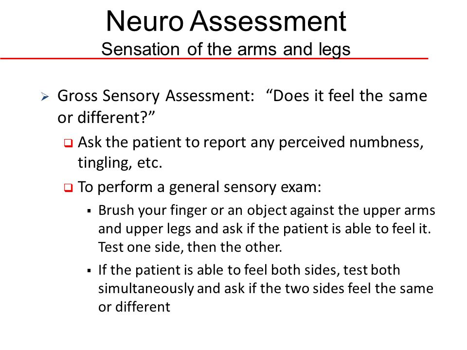 Neuro Assessment Sensation of the arms and legs