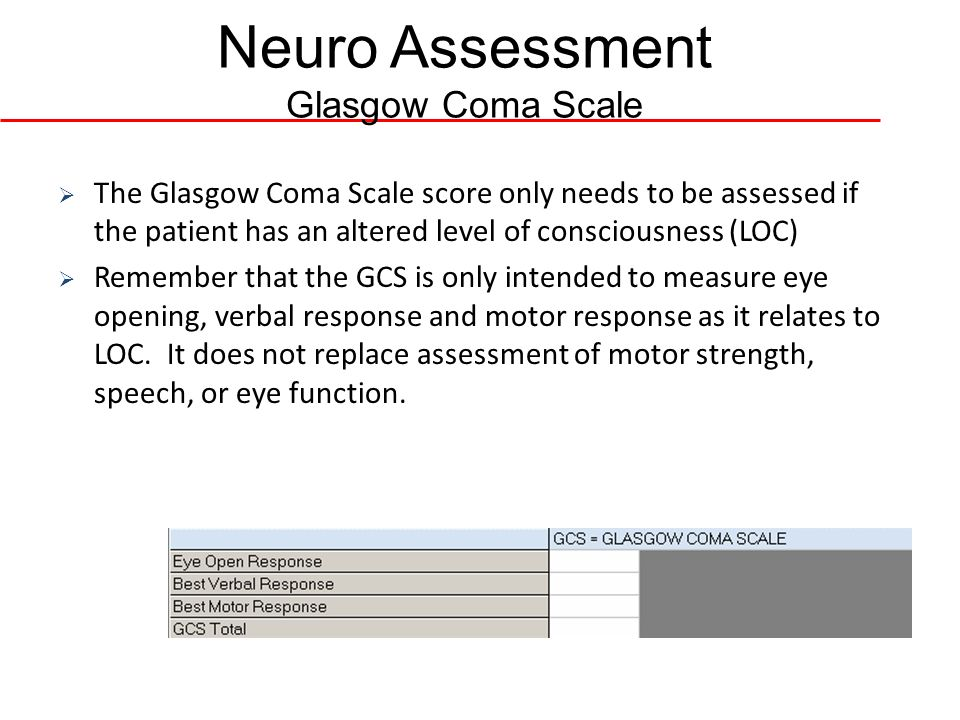 Neuro Assessment Glasgow Coma Scale