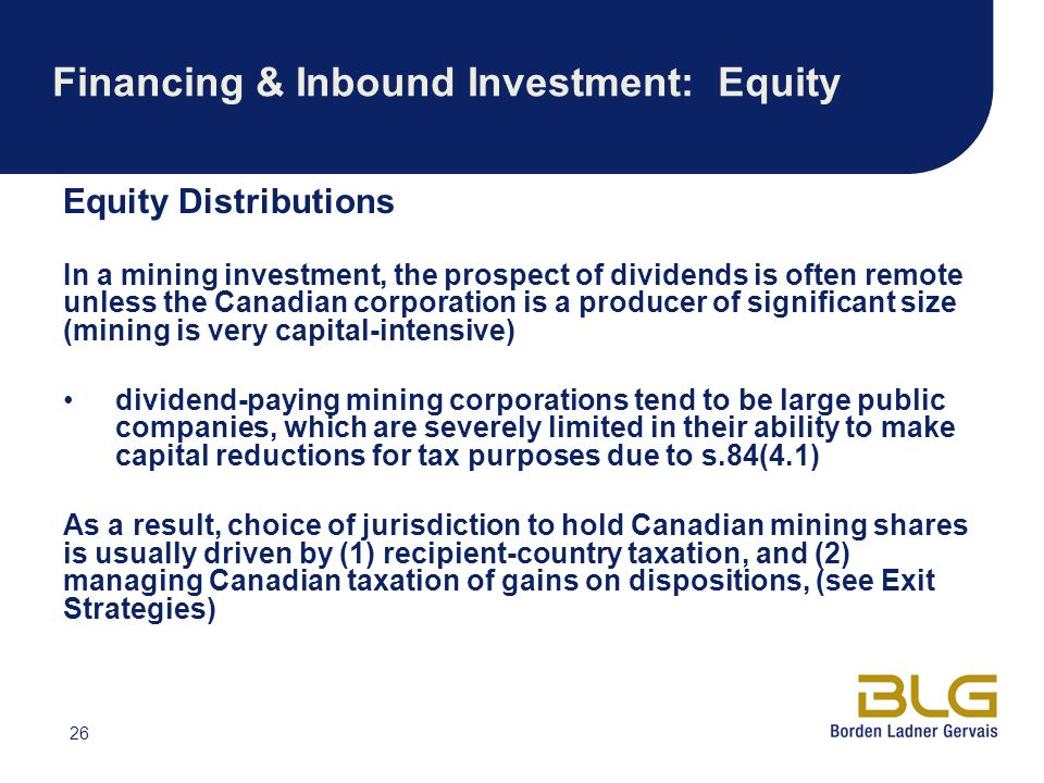 Financing & Inbound Investment: Equity