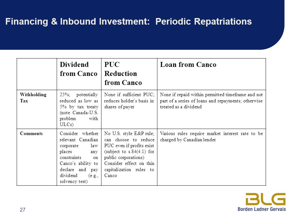 Financing & Inbound Investment: Periodic Repatriations