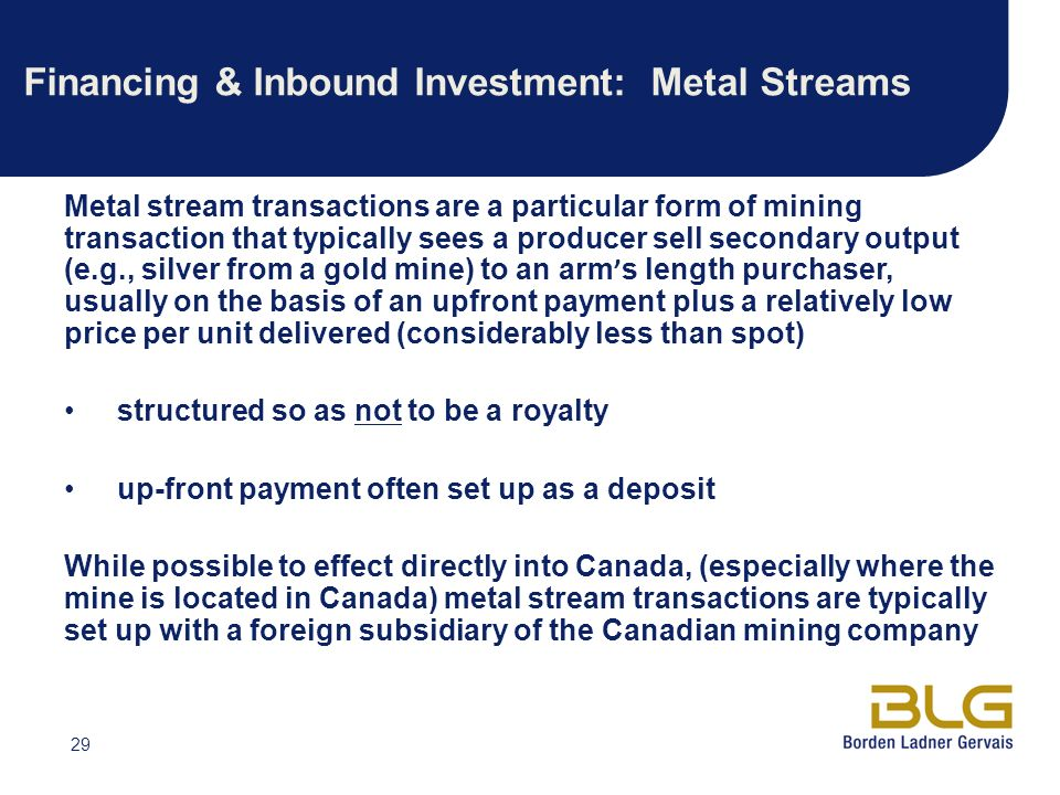Financing & Inbound Investment: Metal Streams