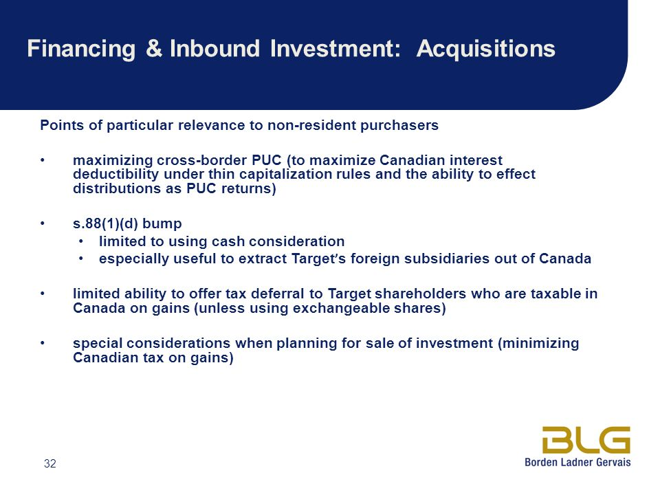 Financing & Inbound Investment: Acquisitions