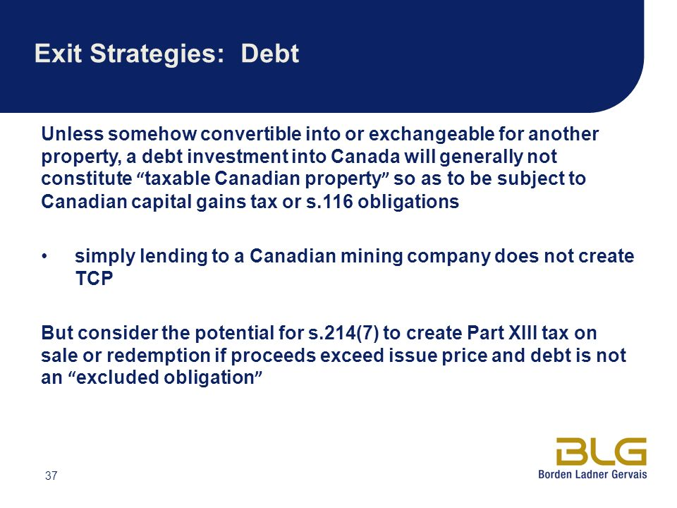 Exit Strategies: Debt