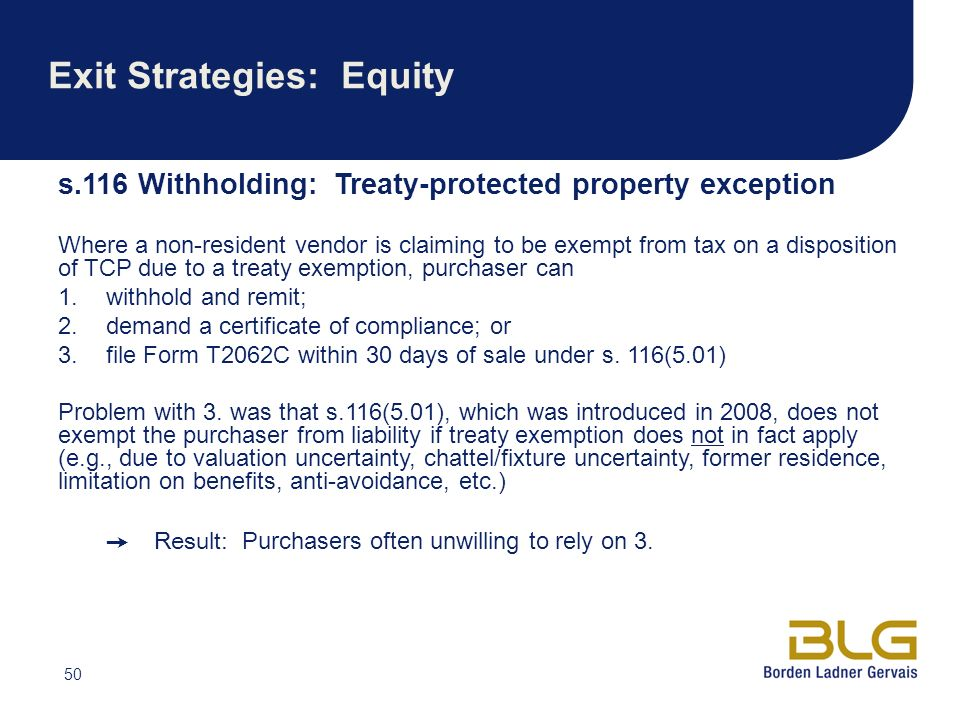 Exit Strategies: Equity