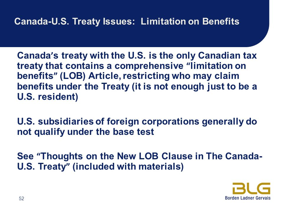 Canada-U.S. Treaty Issues: Limitation on Benefits