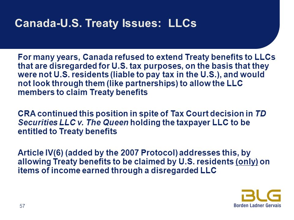 Canada-U.S. Treaty Issues: LLCs