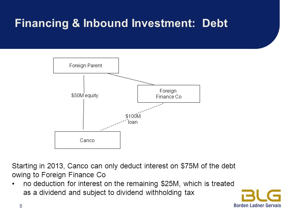 Financing & Inbound Investment: Debt