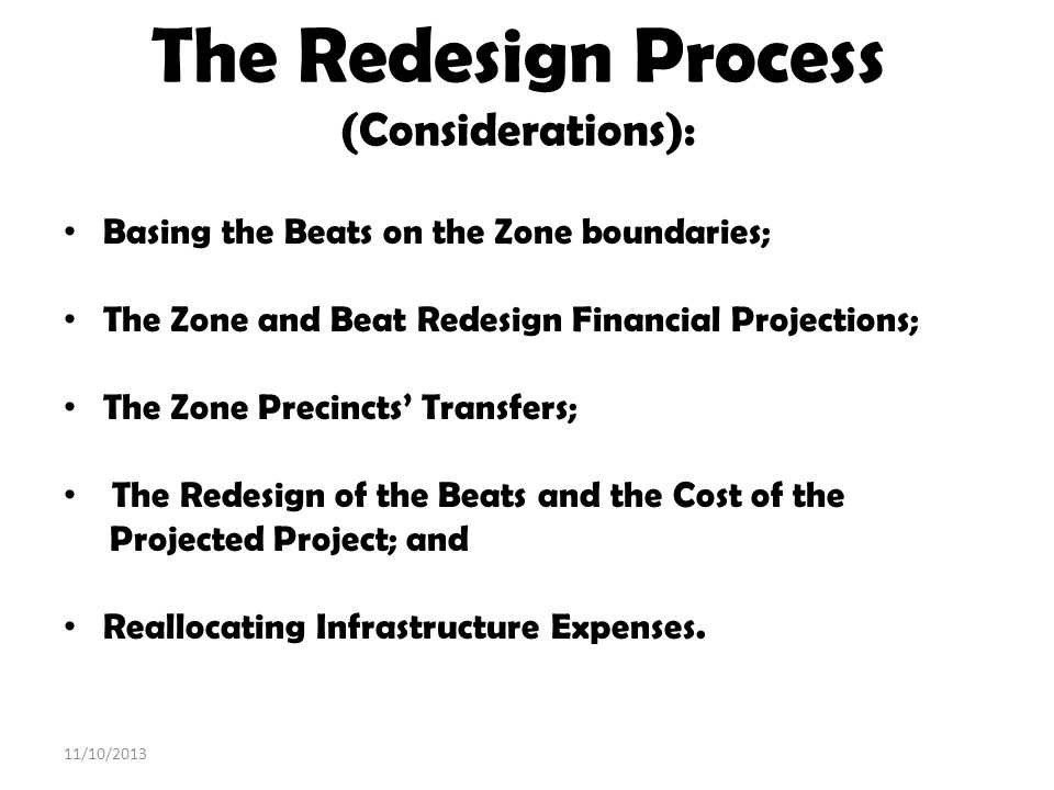 The Redesign Process (Considerations):