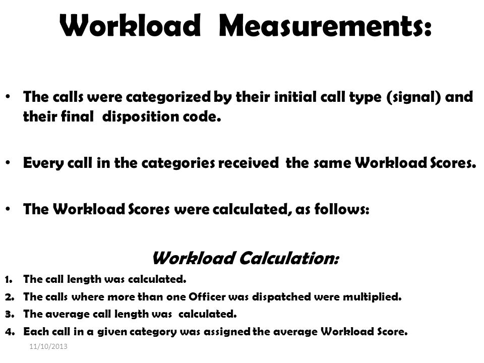 Workload Measurements: