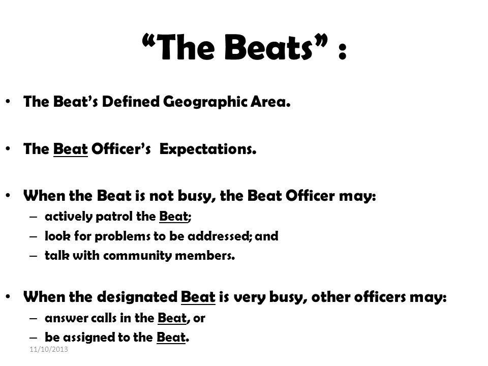 The Beats : The Beat's Defined Geographic Area.