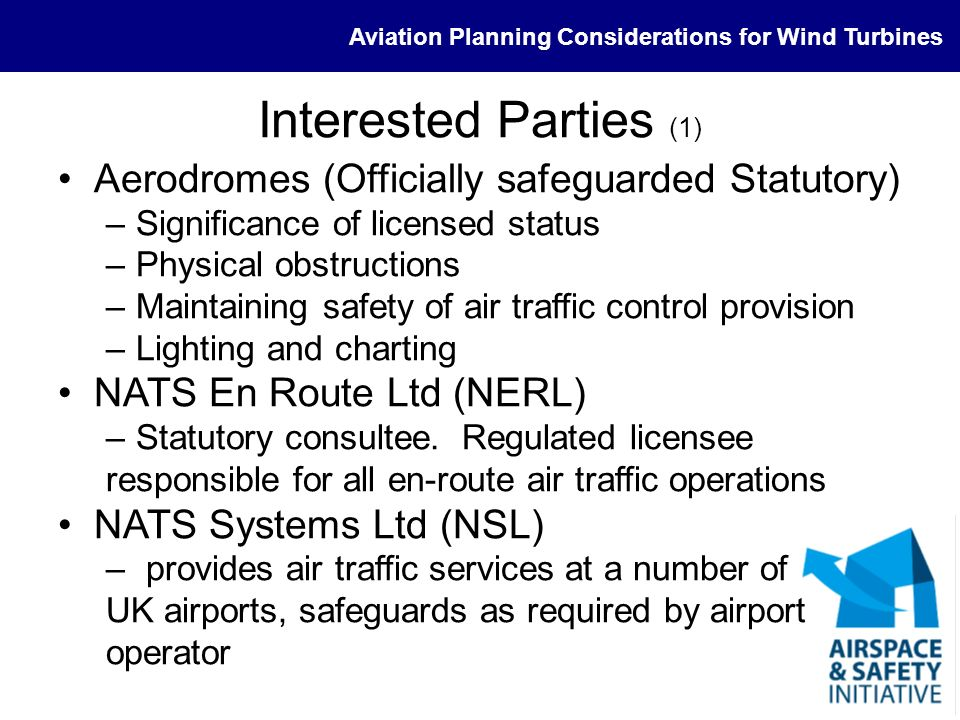 Interested Parties (1) Aerodromes (Officially safeguarded Statutory)