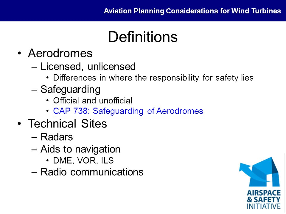 Definitions Aerodromes Technical Sites Licensed, unlicensed