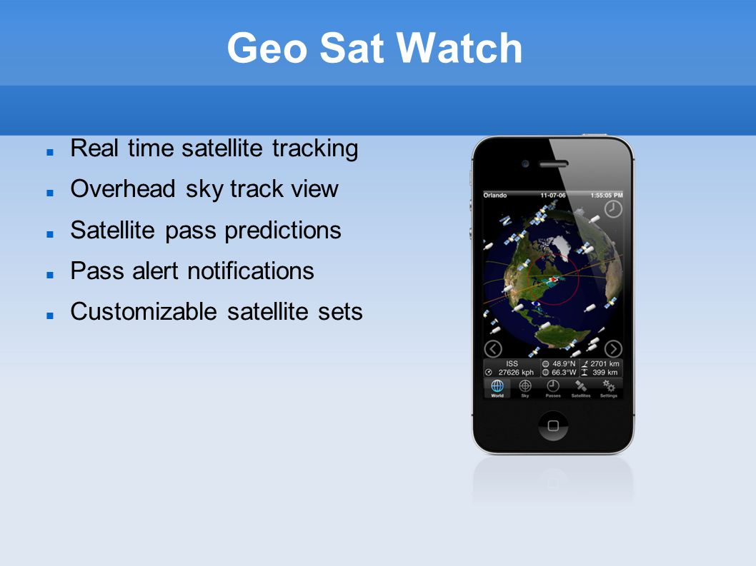Geo Sat Watch Real time satellite tracking Overhead sky track view