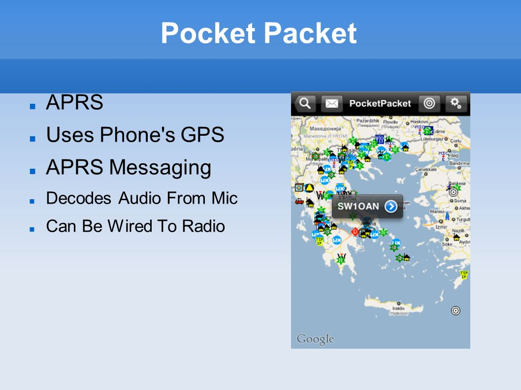 Pocket Packet APRS Uses Phone s GPS APRS Messaging