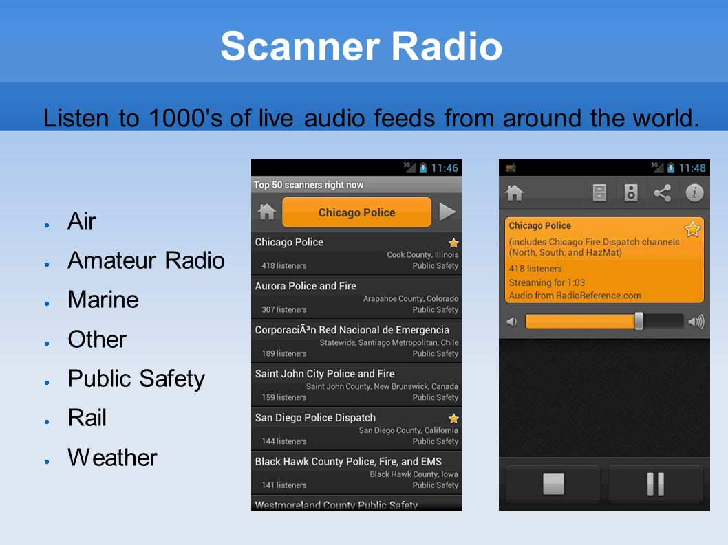 Listen to 1000 s of live audio feeds from around the world.