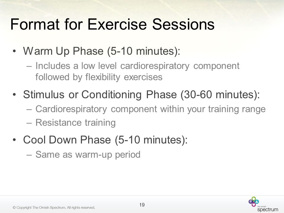Format for Exercise Sessions