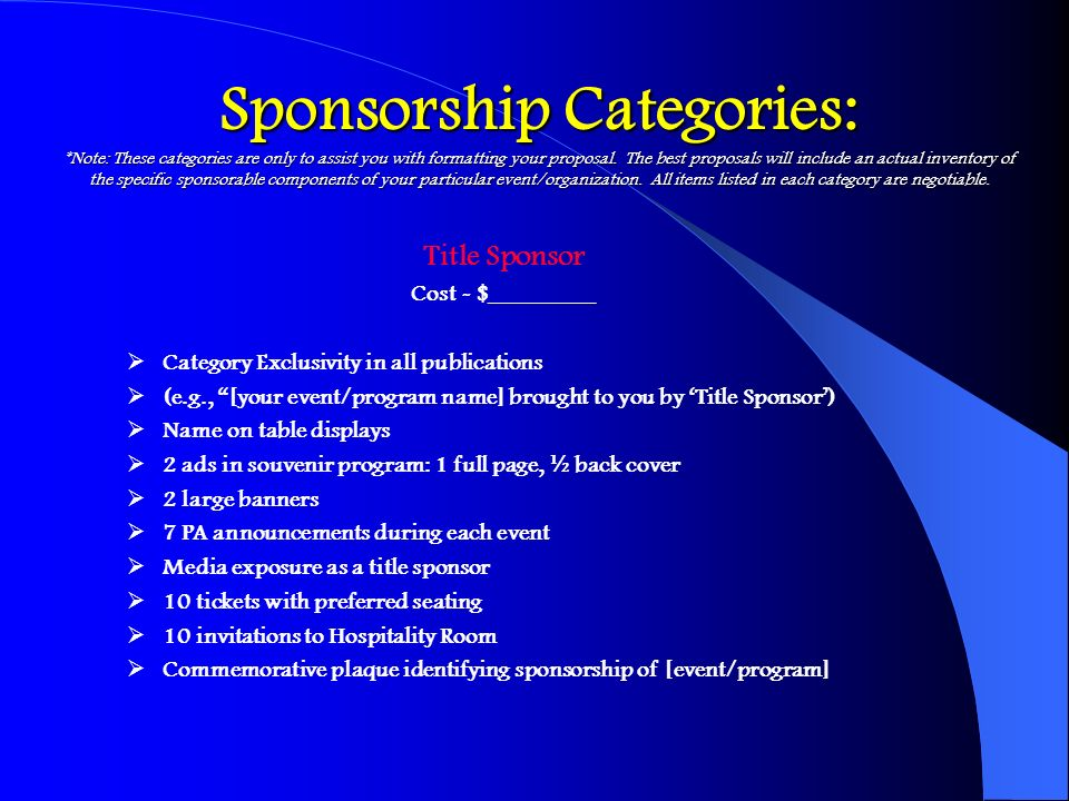 Sponsorship Categories: